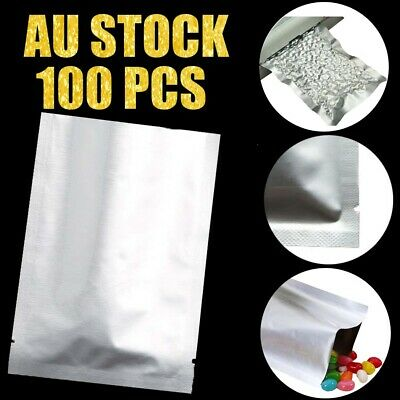 🔥100pc Silver Aluminum Foil Mylar Bag Heat Seal Package Food Vacuum Store pouch