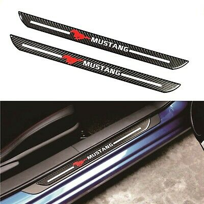 2Pcs Mustang Carbon Fiber Car Door Welcome Plate Sill Scuff Cover Decal Sticker