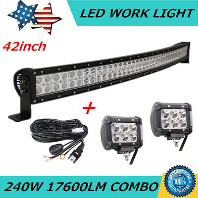 "240W 42inch Curved LED Light Bar Offroad Ford Truck 40"" +2X 18W 4"" Pods &Wiring"