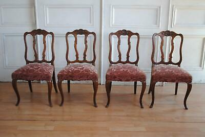 Set 4 Antique Vintage French Provincial Louis XV Style Carved Back Dining Chair