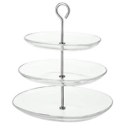 4xIKEA KVITTERA Serving dish stand 3 tiers clear glass stainless steel