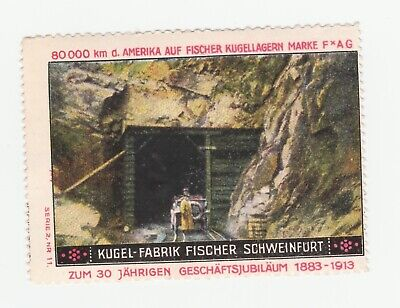 80,000kms America AUF Fischer Kugellagern poster stamp very clean no gum