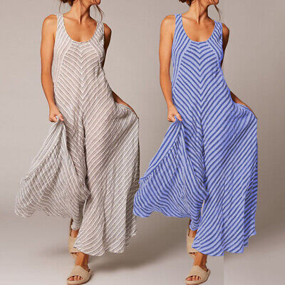 AU Women Casual Jumpsuit Sleeveless Wide Leg Club Party Playsuit Plus Size Pants