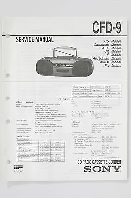 Sony CFD-9 Radio Cassette-Corder Service Manual/Instructions/Wiring Diagram! o74