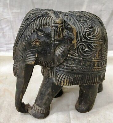 Vintage Wooden Hand Carved Elephant Decorative Collectible Figure Home Decor