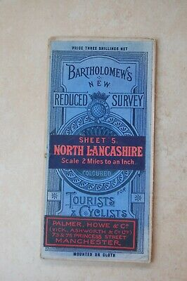 Antique Bartholomew's Map of North Lancashire & Isle of Man, 1920