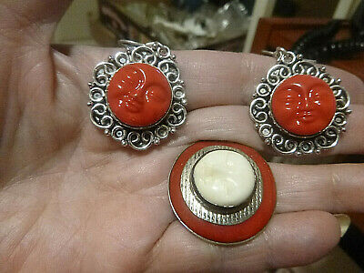 Bali Collection Goddess Carved Ring Size 7 W/Earrings