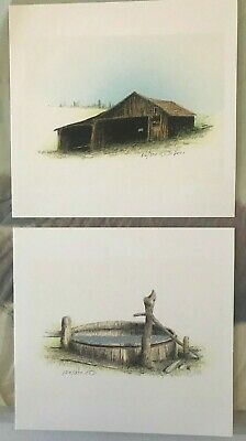Two (2) original Russell Chatham lithographs, Old Barn and old Stock Tank, S/N/D