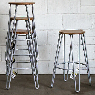 Set Of 4 Metal Bar Stools Rustic Vintage Cafe Restaurant Pub Industrial Round