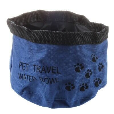 Pet Dog Cat Bowl Water Food Feeder Portable Collapsible Foldable Travel Blu 9K1