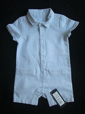 Baby clothes BOY 3-6m NEW! M&S quality pale blue all-in-one/romper cotton/linen