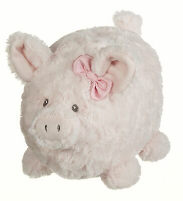 Penny Piggy With Bow Pretty Fuzzy Pink 9 inch Soft Plush Fabric Toy Bank