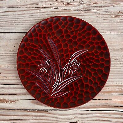 "Vintage Japanese Red Lacquer Ware Wooden hand carved 8"" Plate Japan Mint"