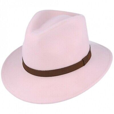 722c2920 Crushable Pale Pink 100%Wool Felt Trilby Fedora Hat With Leather Type Band