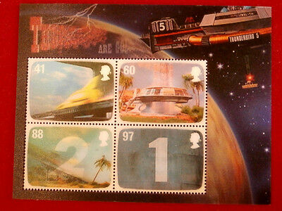 THUNDERBIRDS - Set of 4 Lenticular Postage Stamps - Gerry Anderson, Royal Mail