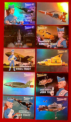 THUNDERBIRDS 50 Years - COMPLETE CHASE SET of 10 Mirror Foil Cards, 2015