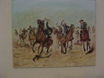 Gouache Painting  On Canvas ( Army And Indians)