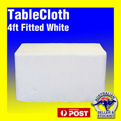 Tablecloths Wedding FITTED Rectangle Table Cloths 4ft White Event Market Trestle