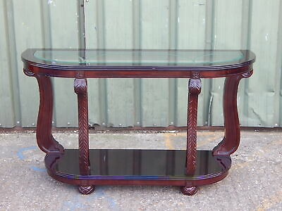 Stunning carved wood cabriole glass topped console side table asian oriental
