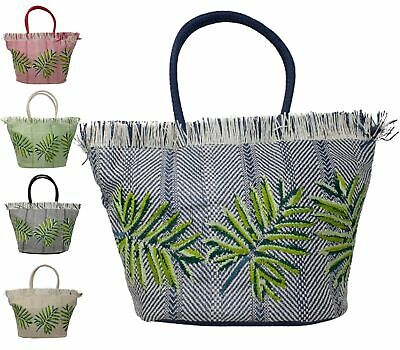 Womens Shopping Bucket Twin Grab Handle Basket Weave Tote Shoulder Handbag