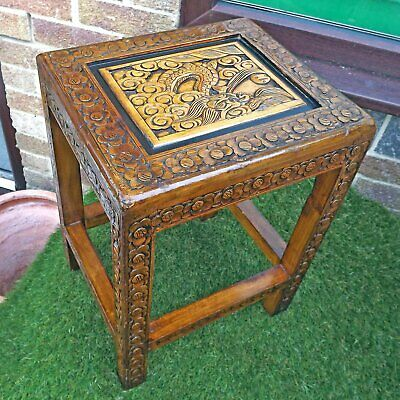 Carved Dragon Top Small Chinese Side Table