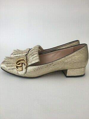 5818f3731 Gucci GG Marmont Fringed Metallic Platino Gold 25mm/1in Heeled Loafer Sz  37/7