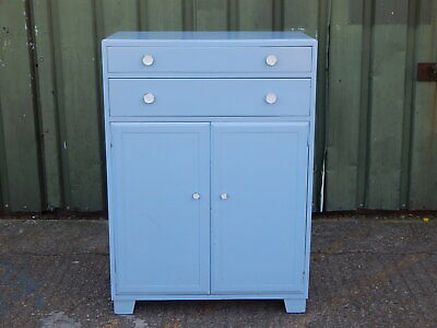 Vintage mid century utility tallboy chest drawers cabinet painted duck egg blue