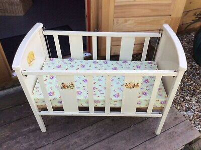 WOODEN VINTAGE DOLLS COT, White Painted With Mattress
