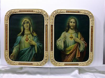 RARE Old Sacred Heart of Jesus & Mary Art Print Savior & Holy Mother of God icon