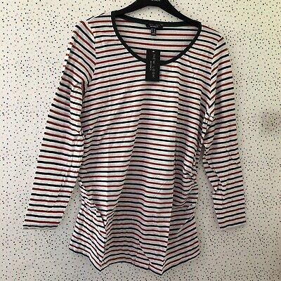 0900442be097b Brand New New Look Maternity White Red Green Striped Long Sleeve Top Size 16