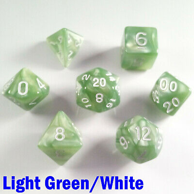 Pearl Poly 7 Dice RPG Set Light Green White Pathfinder Dungeon Dragon D&D DND HD