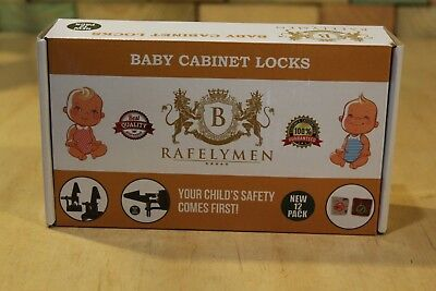 Rafelymen Baby Proof Cabinet Locks - Black, Set of 12