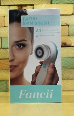 Wet & Dry Facial Cleansing Spin Brush Set - 3 Exfoliating Heads - Waterproof (Fa