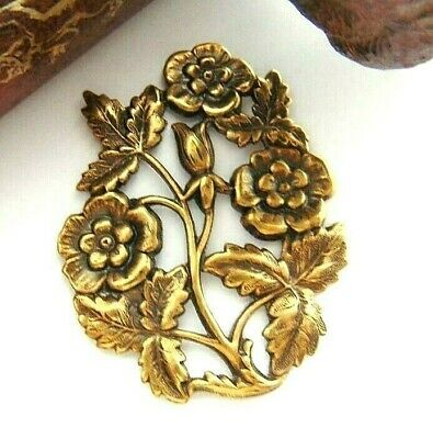 ANTIQUE BRASS Rose Floral Victorian Flower Stamping Oxidized Finding (FB-6021)