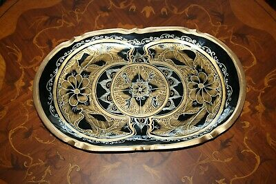 Vintage Hand Painted Black and Gold Serving Wooden Tray Flowers Rustic Folk Art