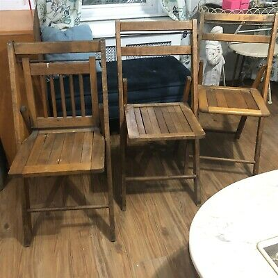 Vintage Wood Oak Wooden Folding Chairs Lot Of 3