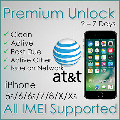 PREMIUM AT&T ATT FACTORY UNLOCK SERVICE FOR IPHONE Xs Xr X 8 7 6s 6 5s PAST DUE