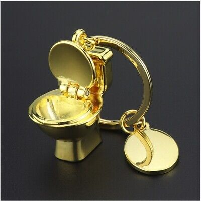 Cute Mini Gold Toilet Car Key Ring Chain 3D Keyfob Keychain Keyring Love Gift