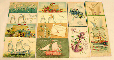 Lot Of 13 Antique Embossed Postcards ~Assorted Greetings~ Boats, Ships, Anchors