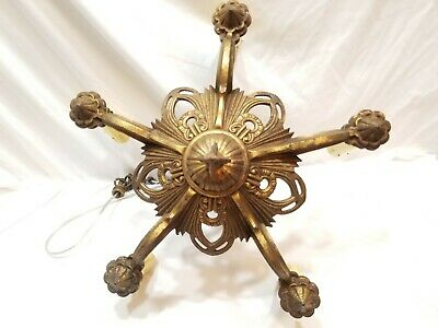 Antique Vintage Art Deco Nouveau Cast Metal 5 Light Ceiling Fixture Chandelier