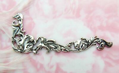 ANTIQUE SILVER Leaf Scroll CORNER Stamping Ornament Leaves Finding (C-1109 R)