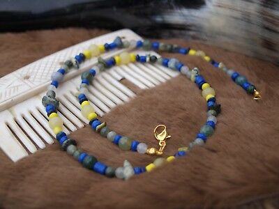 VIKING Inspired Necklace - Blue, Yellow, Green - Precious Gemstone and Glass