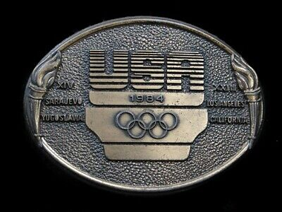 Sb05131 Vintage 1984 Vintage **Usa Olympic Committee** Sports Belt Buckle