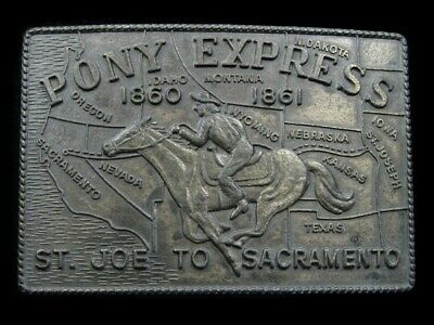SB05119 VINTAGE 1970s **PONY EXPRESS ST JOE TO SACRAMENTO** OLD WEST BELT BUCKLE