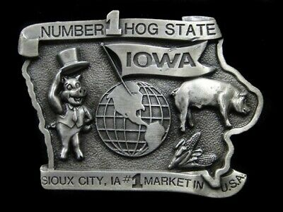 Sb05164 Vintage 1983 **Iowa - Number One Hog State** Commemorative Belt Buckle