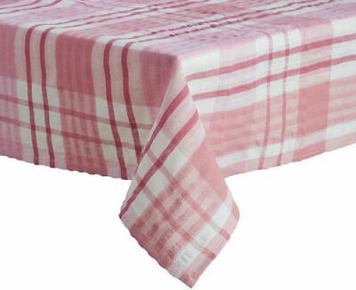 "Rose Pink Seersucker Checked Table Cloth 36"" 100% Cotton Square £6.25 Each"
