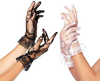 Lace Gloves with Ruffle Trim Wrist Length Wedding Bridal White or Black OS 1260