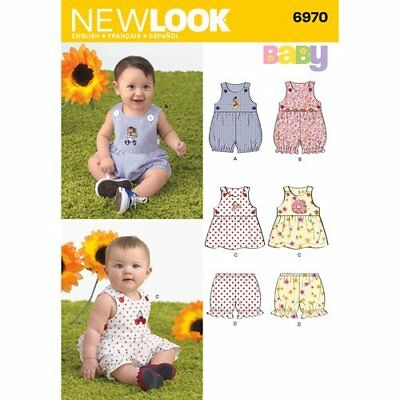 New Look Sewing Pattern  6970 Babies Sz NB - L Rompers Overalls Dresses Panties