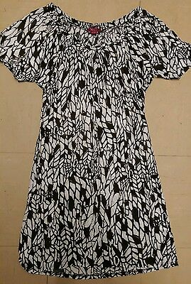 Monsoon tunic or dress brown white pattern size 8