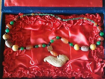 Ancient Chinese Chicken Bone Jade, Carnelian, And Agate Necklace